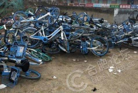 合肥一学校黑头车主为拉客,把众多共享单车乱丢