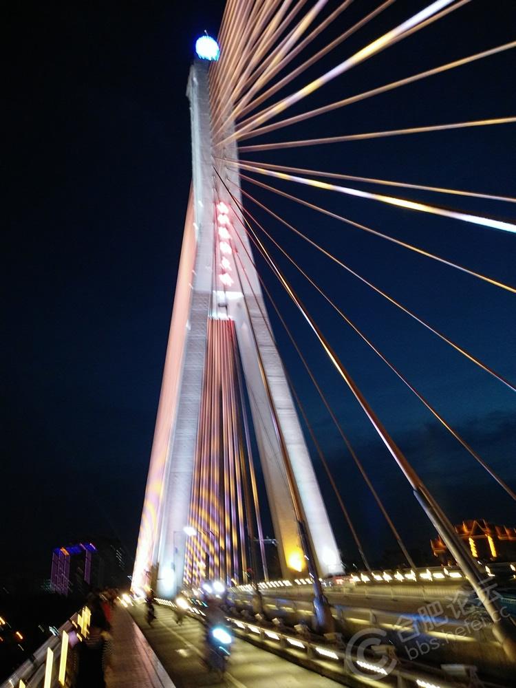 西双版纳自然风景花草树木澜沧江大桥夜景
