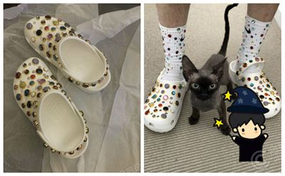 这双灭霸的洞洞鞋了,跟我的耐克袜子配不配