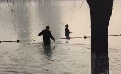 【救人】大妈投湖轻生,城管跳入水中将其救出