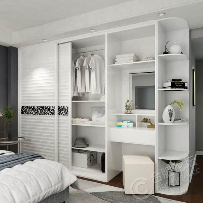 这个衣柜可以嵌入在墙体中,还可以在门板上设计腰线等造型,轻巧方便